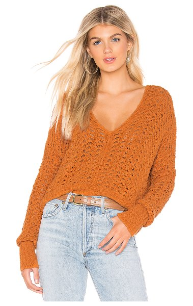 Free People Best Of You Sweater in orange - Poly blend. Hand wash cold. Open knit fabric. Ribbed...