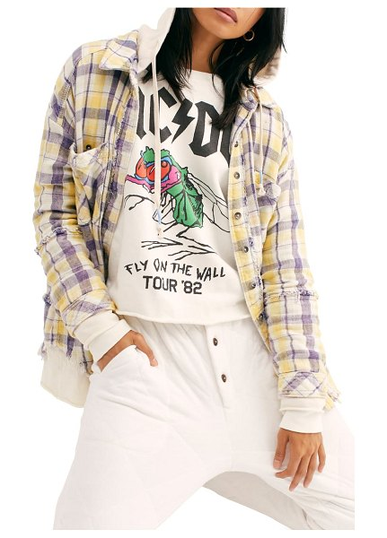 Free People calico basin plaid hooded shirt in ivory combo