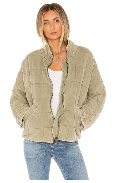 Free People dolman quilted jacket in moss
