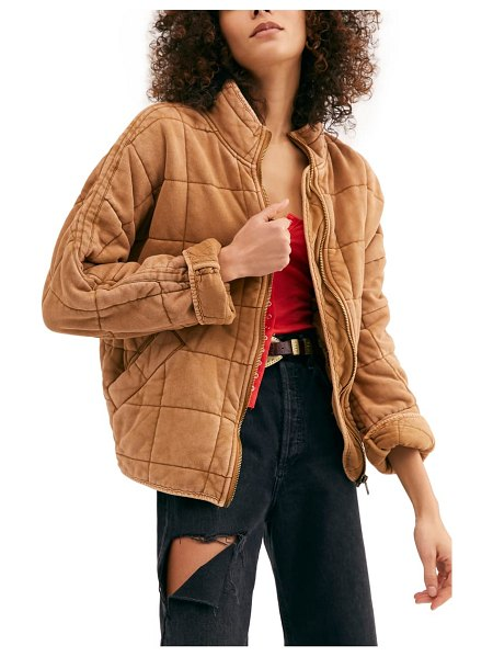 Free People dolman sleeve quilted jacket in toasted coconut