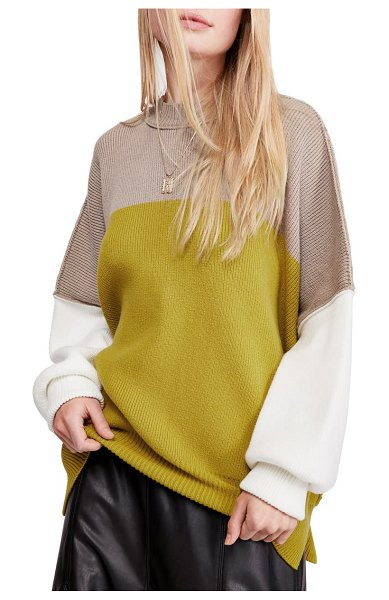 Free People easy street colorblock sweater in lime