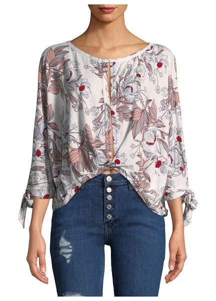 Free People Floral Hi-Lo Top in bright red
