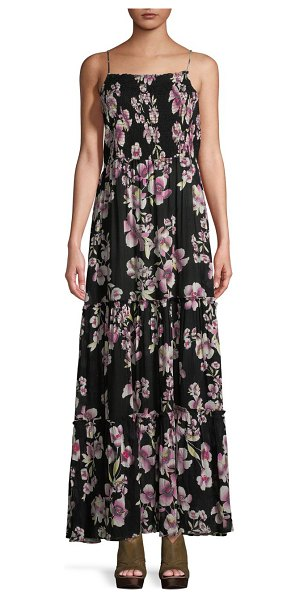 c5b00323a31 Free People Garden Party Maxi Dress in onyx - Floral print tiered maxi dress  with shirred