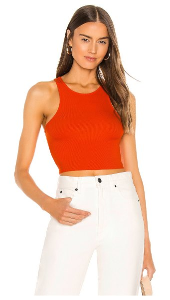 Free People high neck ribbed crop top in bright orange