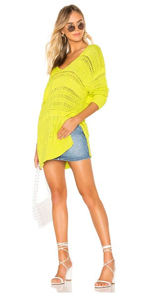 Free People Hot Tropics Pullover in green - Cotton blend. Open knit fabric. Hi-low hem. Side seam...