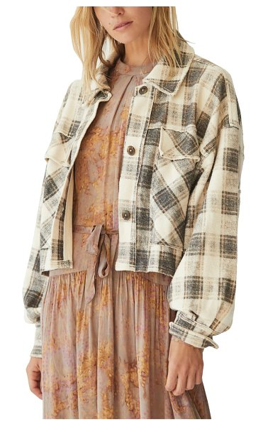 Free People james plaid jacket in cream combo