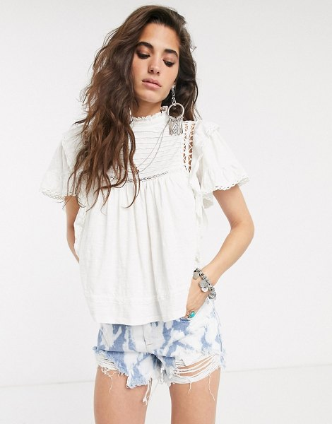 Free People le femme high neck blouse-white in white