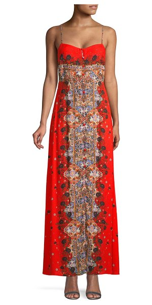 Free People Morning Song Print Sweetheart Maxi Dress in red