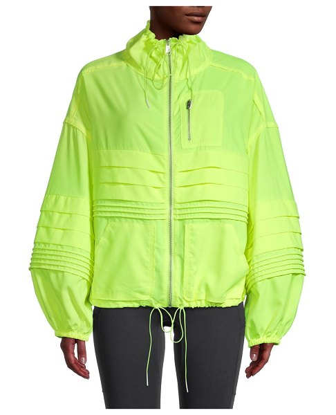 FREE PEOPLE MOVEMENT Check It Out Oversized Windbreaker in highlighter yellow