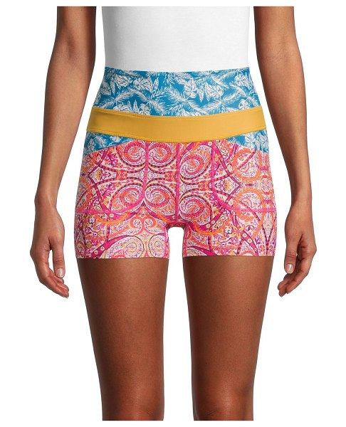 FREE PEOPLE MOVEMENT Mixed-Print Shorts in paisley pink