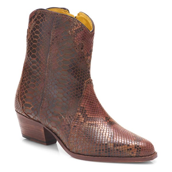Free People new frontier western bootie in snake print leather
