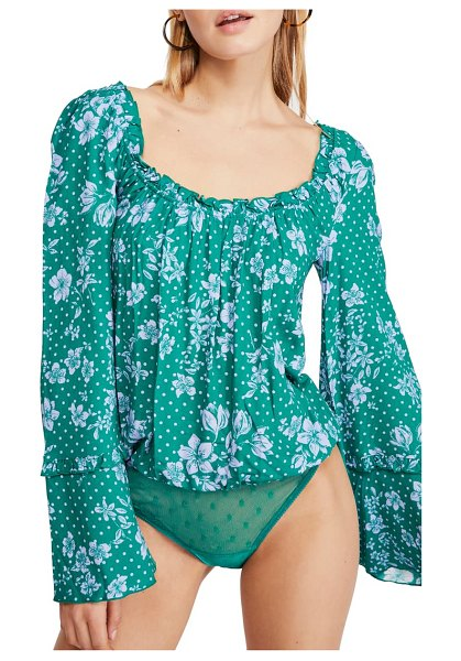 Free People one on one bell sleeve bodysuit in green combo