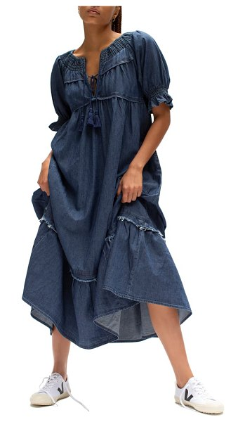 Free People one & only cotton dress in cowboy blue
