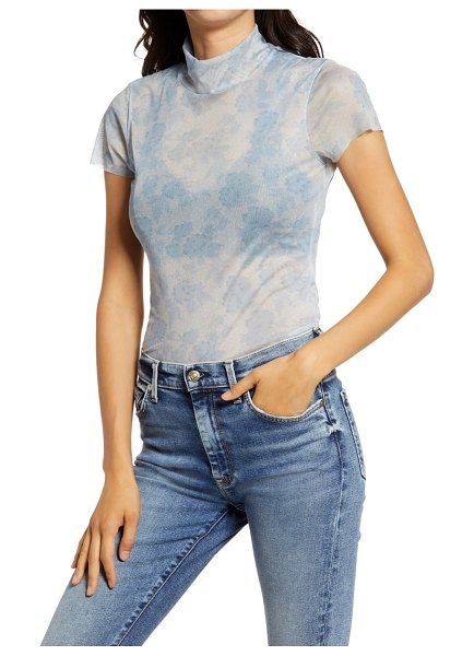 Free People print mesh baby t-shirt in blue combo