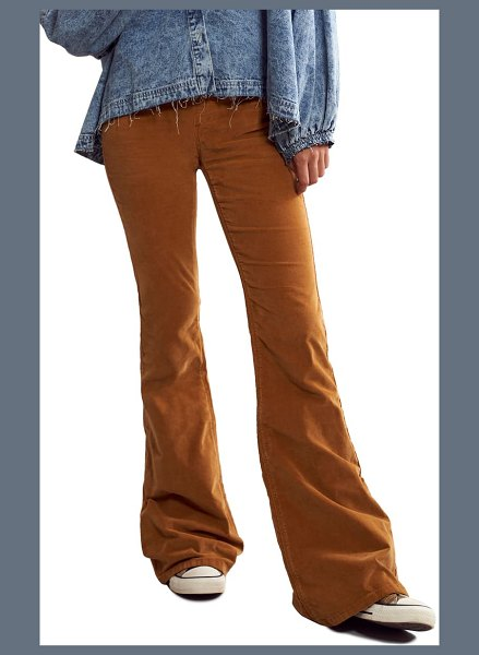 Free People pull-on flare corduroy pants in sueded suntan