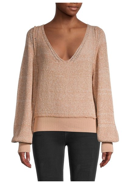 Free People Riptide V-Neck Sweater in pink sand