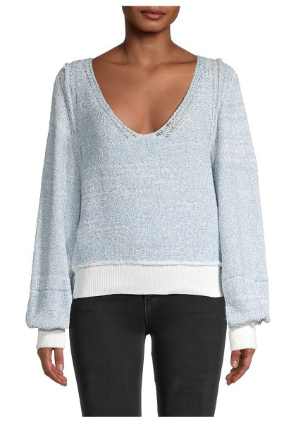 Free People Riptide V-Neck Sweater in white blue