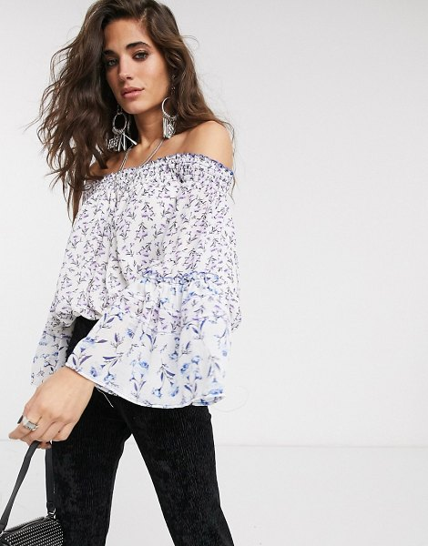 Free People rose valley printed off shoulder blouse-white in white