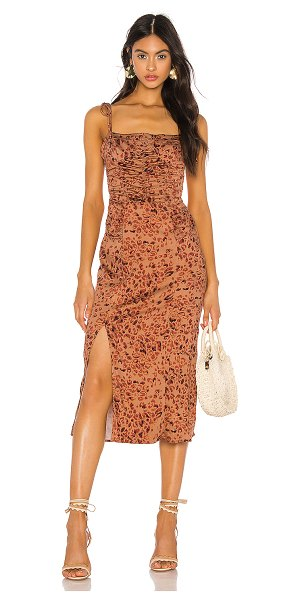 Free People show stopper midi dress in brown combo