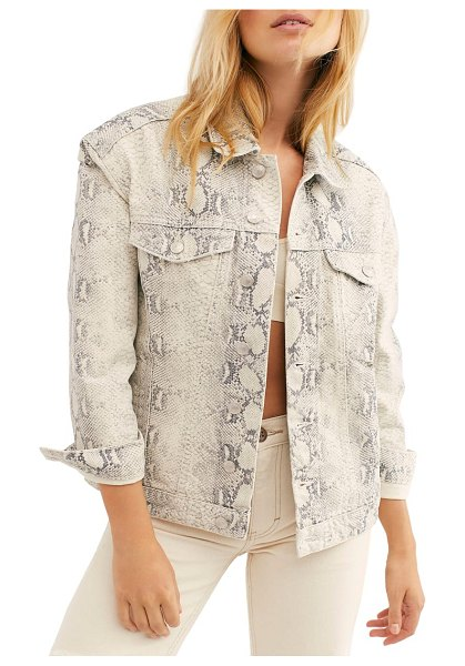 Free People snakeskin print trucker jacket in ivory - A familiar and well-loved jacket gets a slick update in...