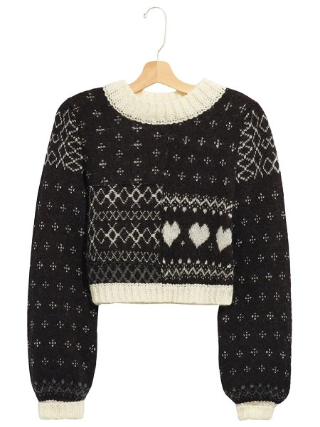 Free People snow globe crop pullover in onyx combo