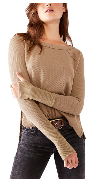 Free People snowy thermal shirt in sunstone