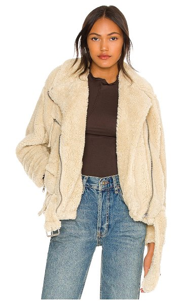 Free People so cozy slouchy moto in marzipan