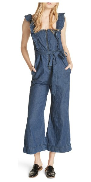 95b9379b877a Free People sun valley jumpsuit in dark denim - Bring a feminine touch to  any occasion