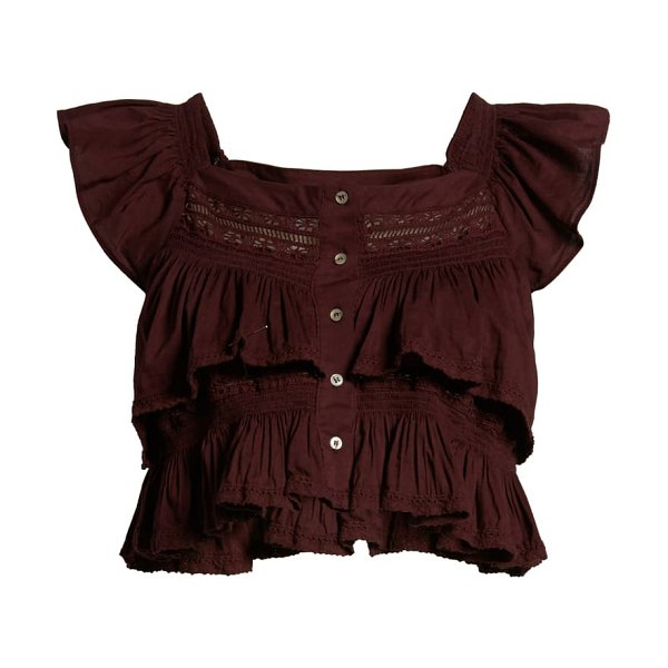 Free People sunny days ahead ruffle crop top in panther rose
