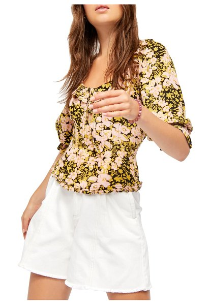 Free People sweet memories floral fitted blouse in black