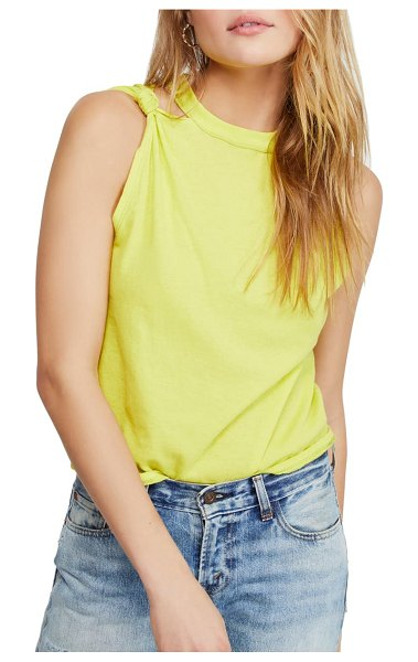 Free People the twist distressed tank in yellow