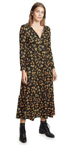 Free People tiers of joy midi dress in black combo