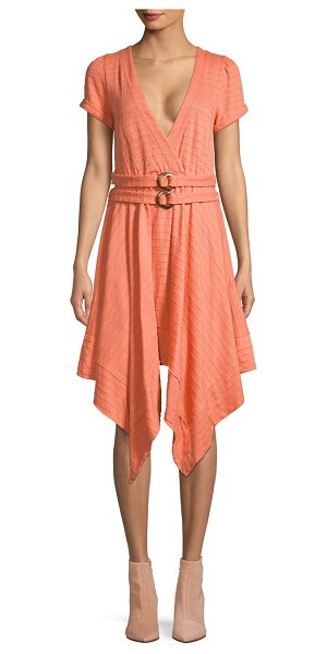 Free People V-Neck Cotton-Blend Belted Dress in pink