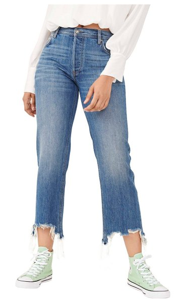 Free People we the free by  maggie ripped crop straight leg jeans in bondi blue