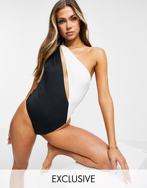 Free Society one shoulder cut out swimsuit in black and white-multi in multi