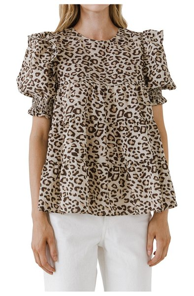 FREE THE ROSES animal print tiered blouse in beige combo