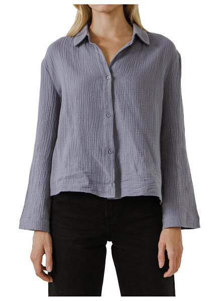 FREE THE ROSES cotton gauze button-up shirt in dusty blue