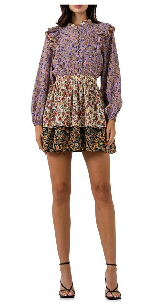 FREE THE ROSES floral long sleeve minidress in multi