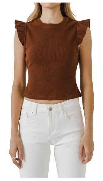 FREE THE ROSES ruffle shoulder cotton blend knit top in brown
