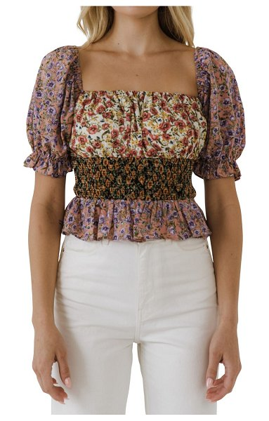 FREE THE ROSES smocked floral top in multi