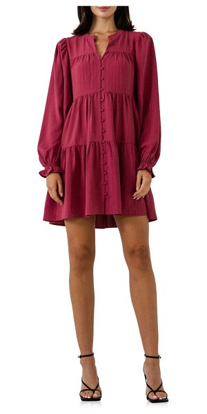 FREE THE ROSES tiered long sleeve minidress in mauve