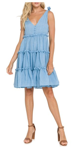 FREE THE ROSES tiered tie shoulder minidress in blue