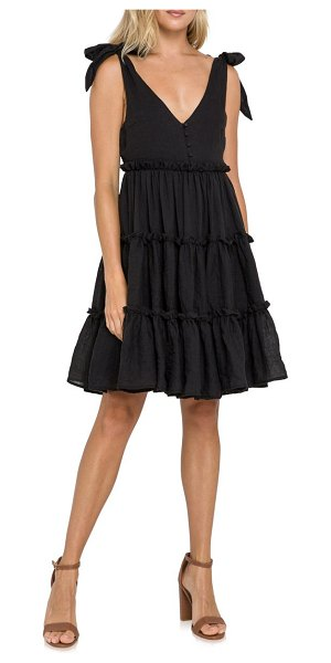 FREE THE ROSES tiered tie shoulder minidress in black