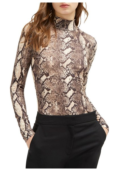 French Connection Animal-Printed Mockneck Top in neutral