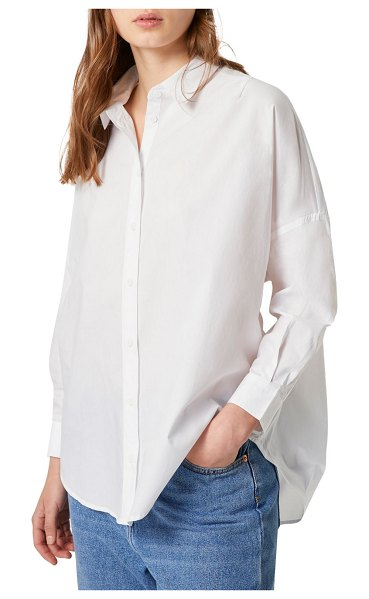 French Connection Button-Front Long-Sleeve Shirt in linen white