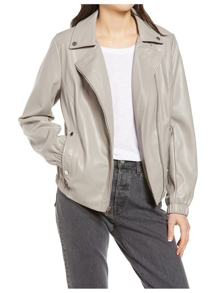 French Connection french connectioon asymmetrical faux leather moto jacket in lunar grey
