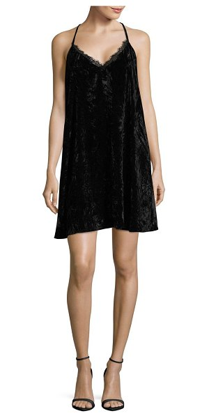 French Connection Lorne Velvet Shift Dress in black - Textured shift dress detailed with sexy lace trim. Deep...