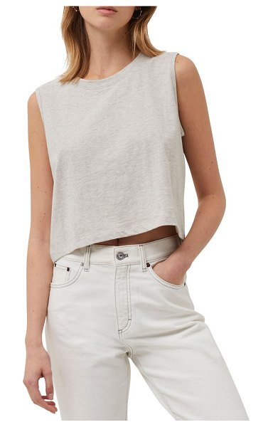 French Connection organic cotton crop tank in dove grey mel