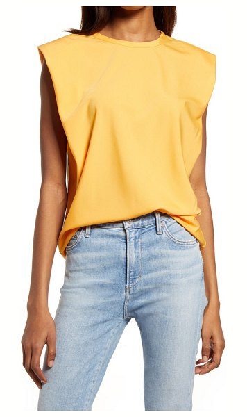 French Connection shoulder pad crepe tank in beeswax orange