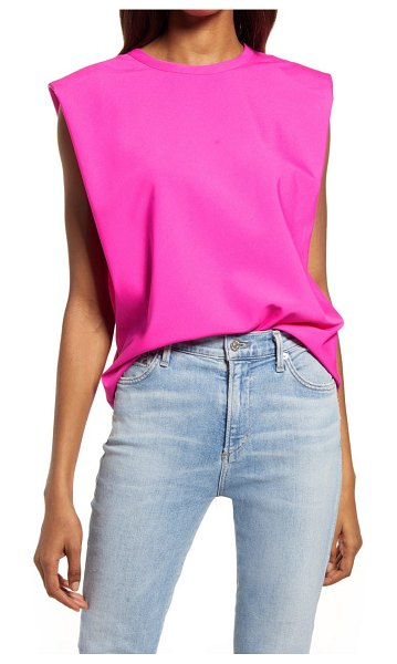 French Connection shoulder pad crepe tank in wild rosa